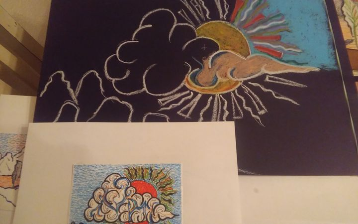 Phase II - Single Clouds Oil Pastel - Hastick Gallery
