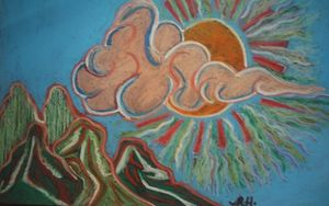 Single Cloud Oil Pastel