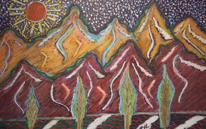 Birthday   Mountains Oil Pastel - Hastick Gallery
