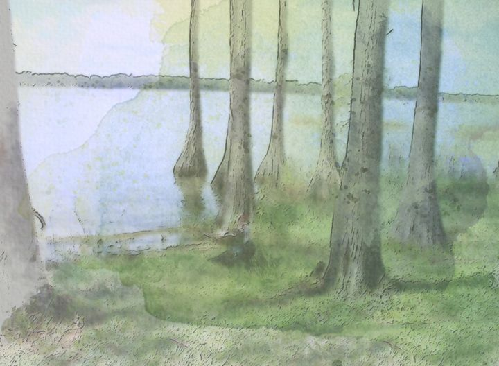 Jackson Lake in Watercolor - Lady Grey