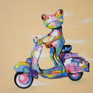 Colorful frog on Vespa