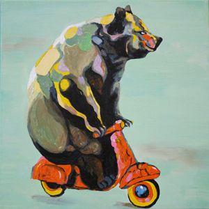 Colorful Bear on Vespa