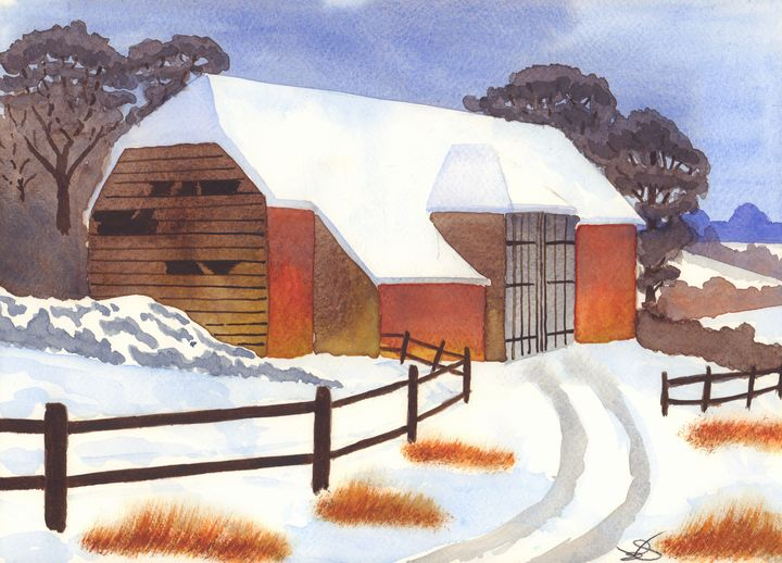 Barn in Snow - James Knights Art