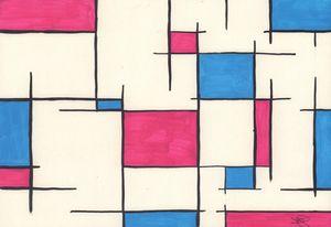 Pink & Blue Mondrian