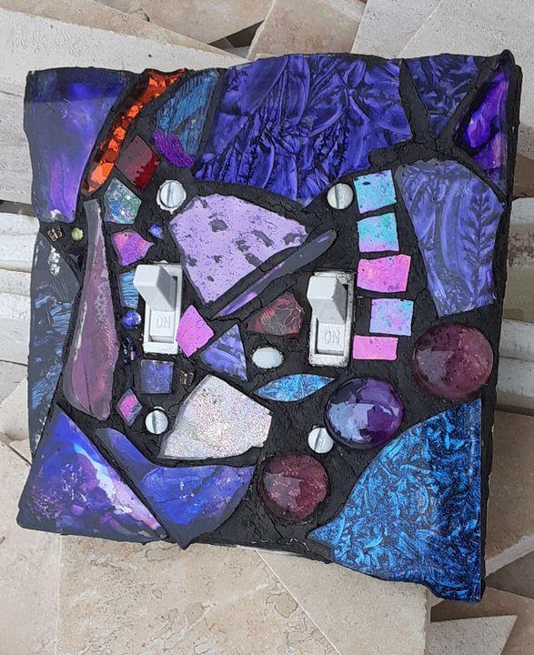 Purple Prance Mosaic Switchplate - CrystalzMosaics