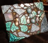 Teal and blue mosaic switchplate