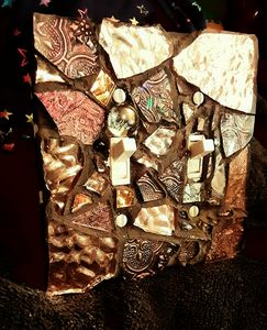 Copper and Bronze mosaic switchplate