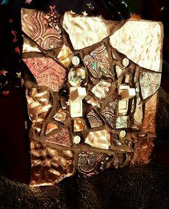 Copper and Bronze mosaic switchplate - CrystalzMosaics