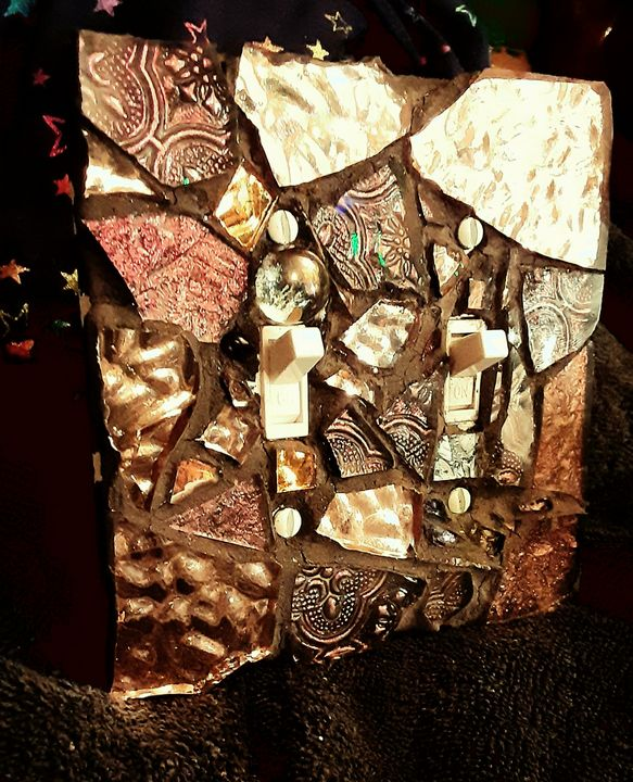 Copper and Bronze mosaic switchplate - CrystalzMosaics