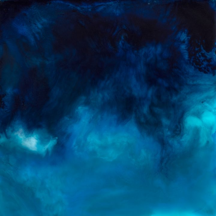 Drift - Blue Encaustic Abstract - Evoke Art Studio
