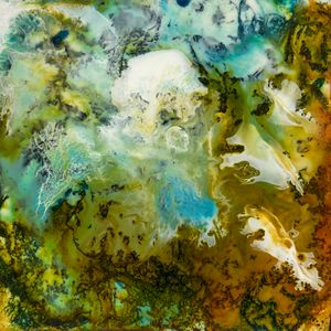 Two Worlds - Encaustic Abstract