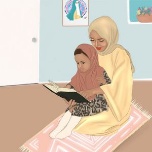 Mother and daughter reading quran