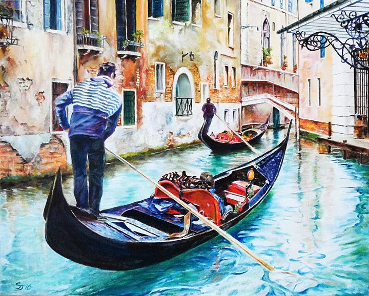 Gondolas on the Canals of Venice - Steve James