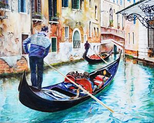 Gondolas on the Canals of Venice