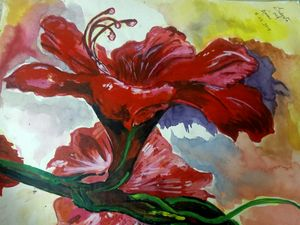 Water colour China Rose painting