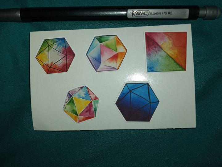5 Watercolor Dice Stickers 1 - Alchemy Art