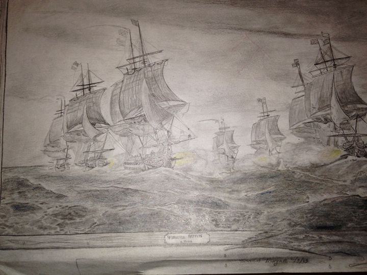 the Battle off the Virginia Capes - sketches