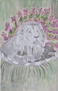 Lion in the Waterfalls - Nicole Burrell