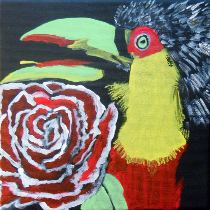Parrot and a Red Rose - Nicole Burrell