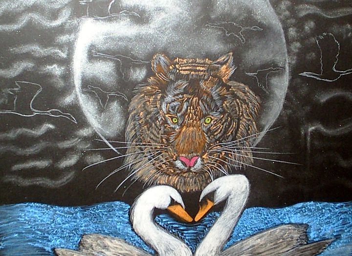 Moonlight Tiger and Swans - Nicole Burrell