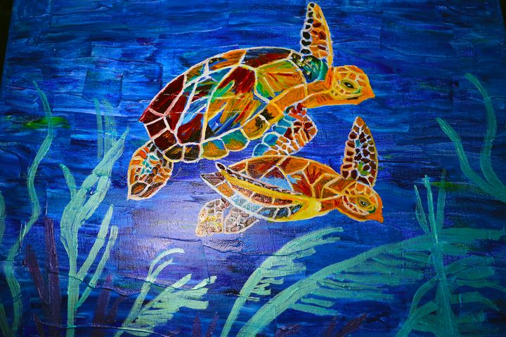 Colorful Sea Turtles - Artallegory