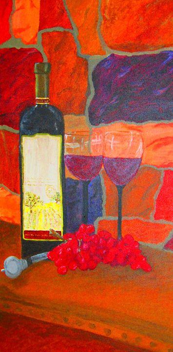 Wine bottle and glasses - AMK DiMaggio