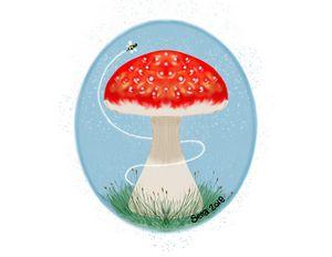 Mushroom and bumble bee