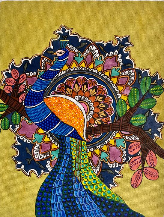 Mandala the peacock in a forest - Puja
