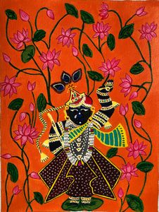 Shrinathji in a pond of waterlilies