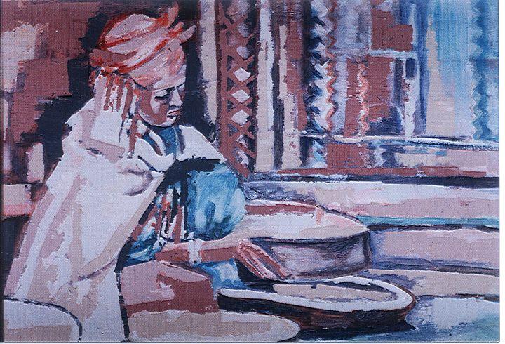 Femme confectionant le couscous - Berkan'Art