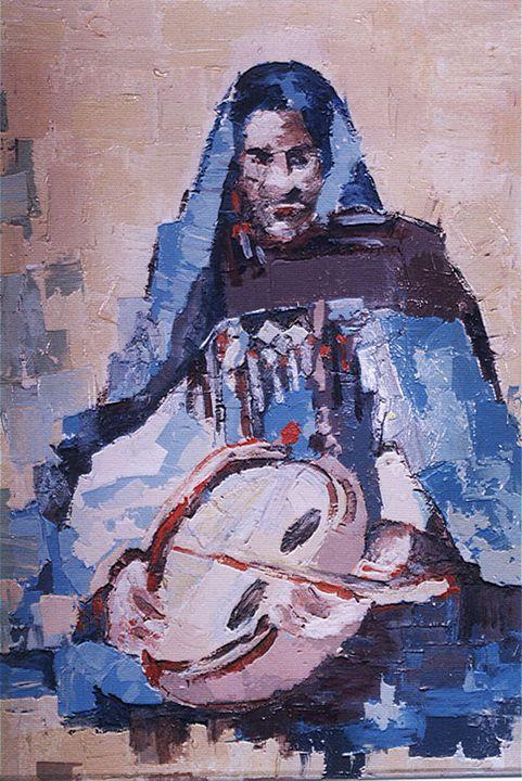 Femme tergui à l'imzad - Berkan'Art