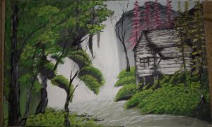 Waterfall canvas painting