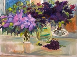 Lilac oil painting