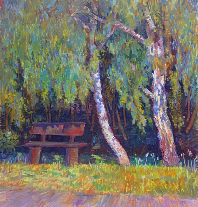 Birch tree painting in the park - Mavko