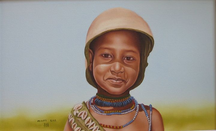 Hammer Child Paintig of Muluken Debe - fineartethiopia/samuel Ethiopian art Promoter