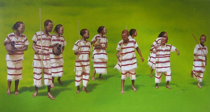 Traibal dance by Muluken Debebe - fineartethiopia/samuel Ethiopian art Promoter