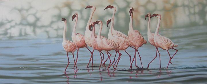 Lake Birds paintig by Muluken debebe - fineartethiopia/samuel Ethiopian art Promoter