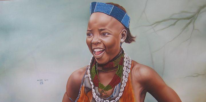 Hammer Girl Painted By Muluken Debeb - fineartethiopia/samuel Ethiopian art Promoter