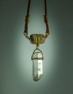 Quartz Crystal Antler Bead Necklace