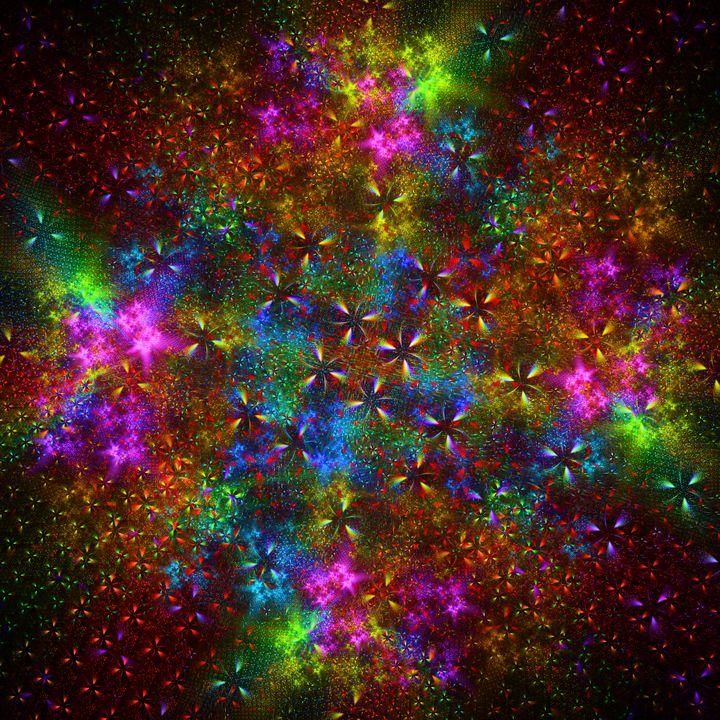 Kaleidoscopic garden of neon stars - pedroml