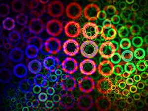 Agglomerated rings in rainbow colors