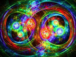 Symmetrical circular neon strokes