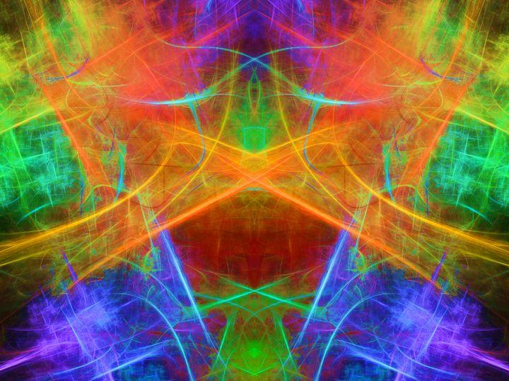 Neon strokes reflected in a mirror - pedroml
