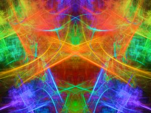 Neon strokes reflected in a mirror