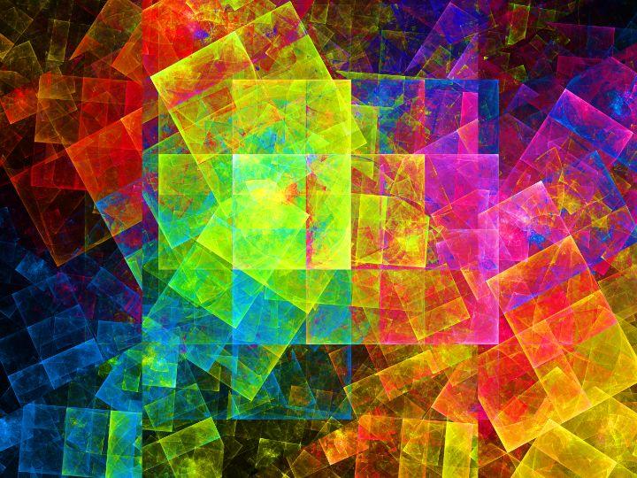 Overlapping translucent neon grids - pedroml