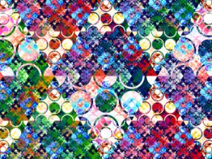 Colorful circles forming rhombuses