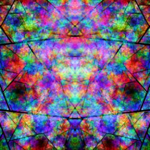 Stained glass of irregular colored c