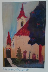 Church and fruit trees