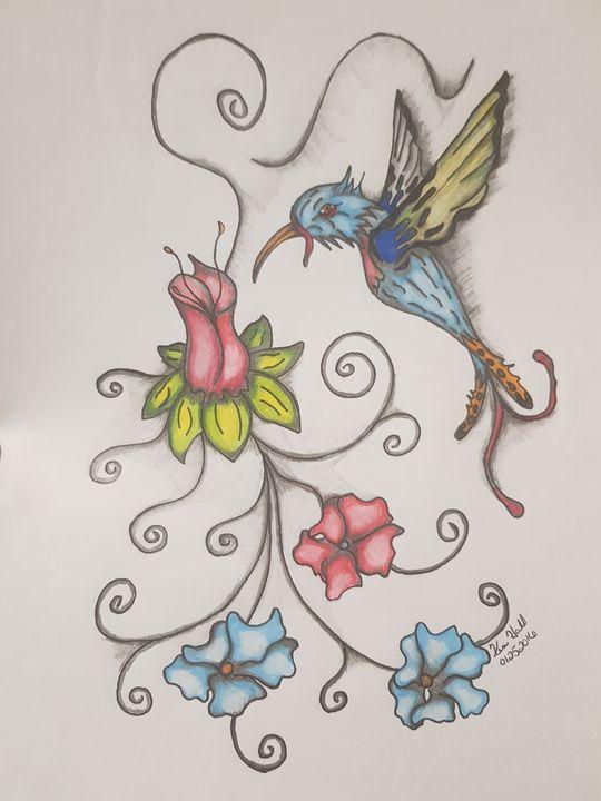 Hummingbird in flowers - K & N Design