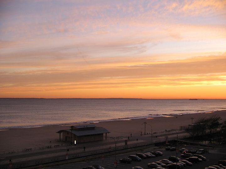 Orange Sunset on the ocean - Elena Romanova Art Galery